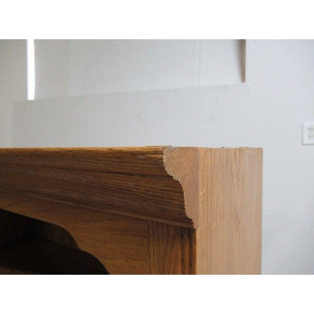 Ethan Allen Chippendale Canterbury Oak Dresser Hutch Top Shelf - Image 9 of 9