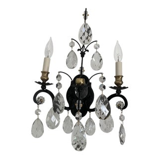 18th Century French Black and Crystal Sconce For Sale