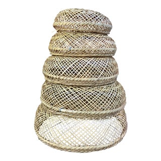 Vintage Bohemian Stackable Nesting Baskets - Set of 5 For Sale