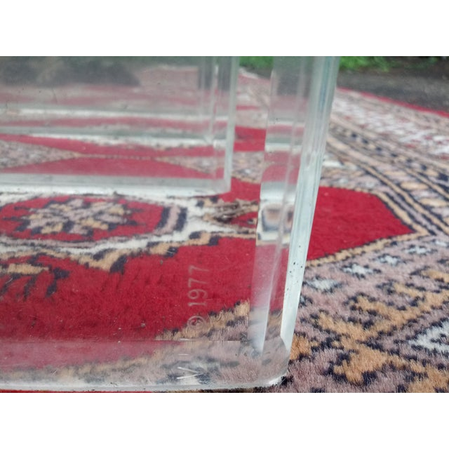 1970s 1970s Vintage Hollywood Regency Verano Stacked Lucite Table Base For Sale - Image 5 of 6