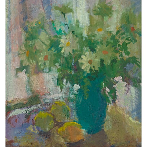 This contemporary print depicts daisies in a teal vase with lemons on the table. The piece was created by artist Amy...