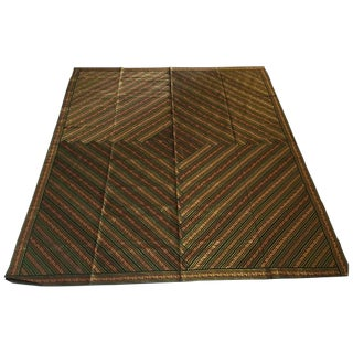 Green and Gold Bed Cover Patchwork From India For Sale