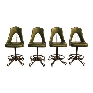 Vintage Spanish Revivial Iron Green Swivel Counter Bar Stools Mid Century Modern For Sale