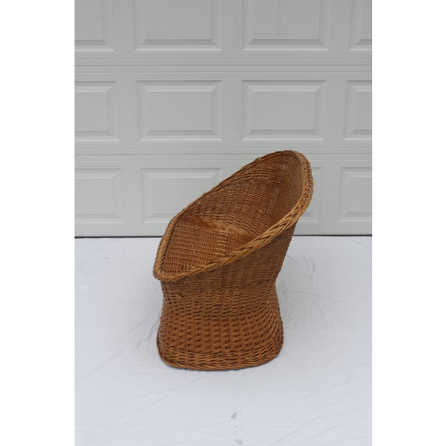 Boho Chic 1970s Vintage Woven Rattan Wicker Settee For Sale - Image 3 of 8