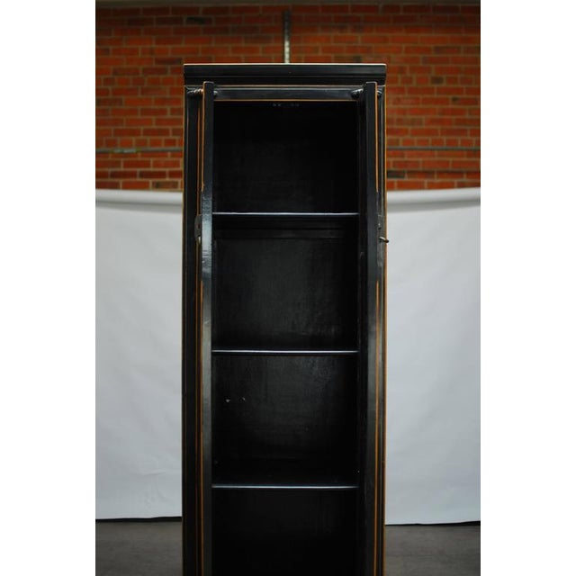 Chinese Tall Black Lacquer Cabinet For Sale - Image 4 of 6