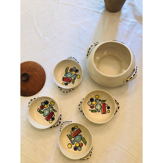 Beautiful and whimsical Frenchy looking soup set. It's signed Industria Argentina.
