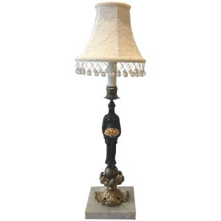 19th Century French Bronze and Ormolu Candlestick With Shade For Sale