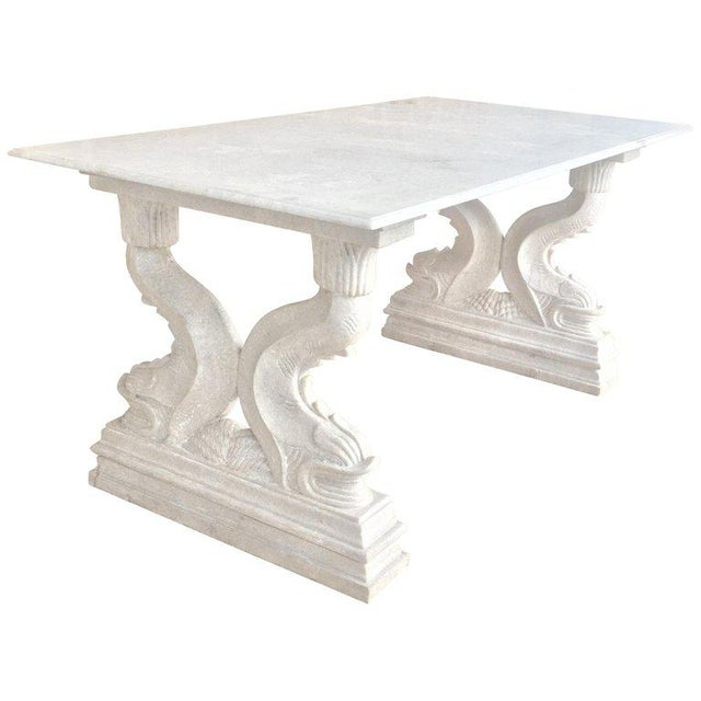 19th Italian Center or Dining Table in Carrara Marble For Sale - Image 13 of 13