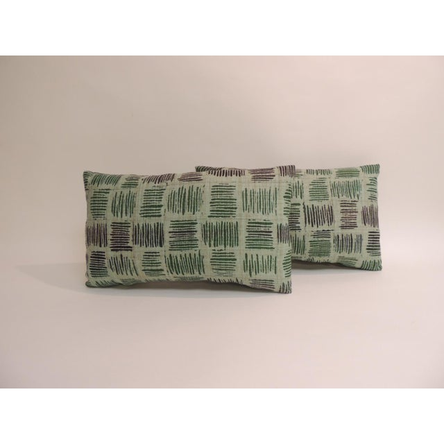 1980s Pair of Vintage Hand Blocked Green and Brown Decorative Lumbar Pillows For Sale - Image 5 of 5