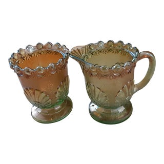 Early 19th C. Large Green and Gold Fade Carnival Glass Sugar and Creamer - a Pair For Sale