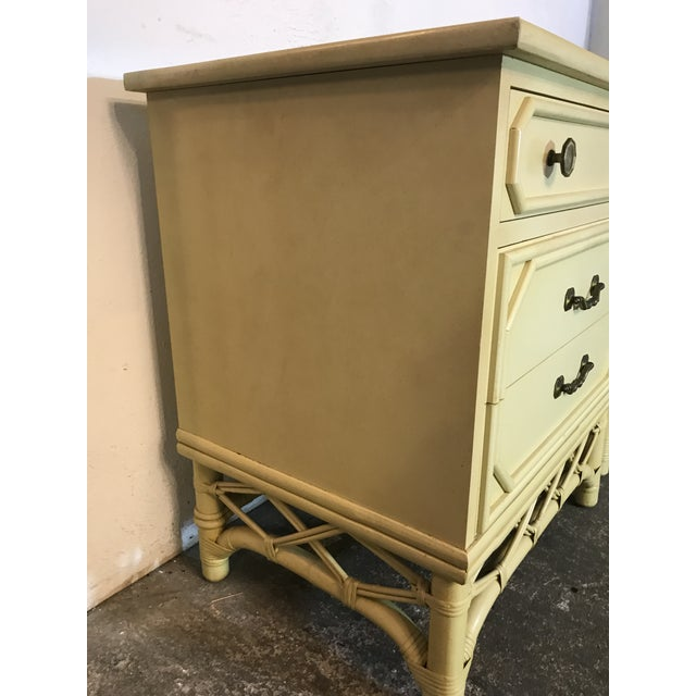 Boho Chic Vintage Ficks Reed Rattan & Wood Three Drawer Nightstands-Pair For Sale - Image 3 of 13