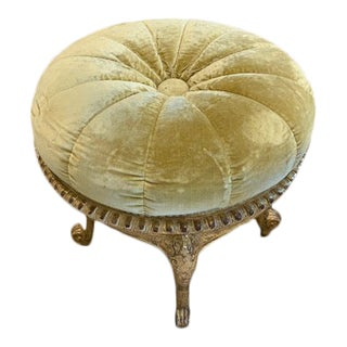 Late 19th Century Louis XV Style Gilt-Wood Circular Tabouret Footstool For Sale
