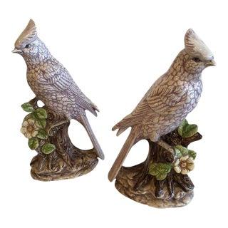 Italian Ceramic Palm Beach Cockatoo Birds - a Pair For Sale