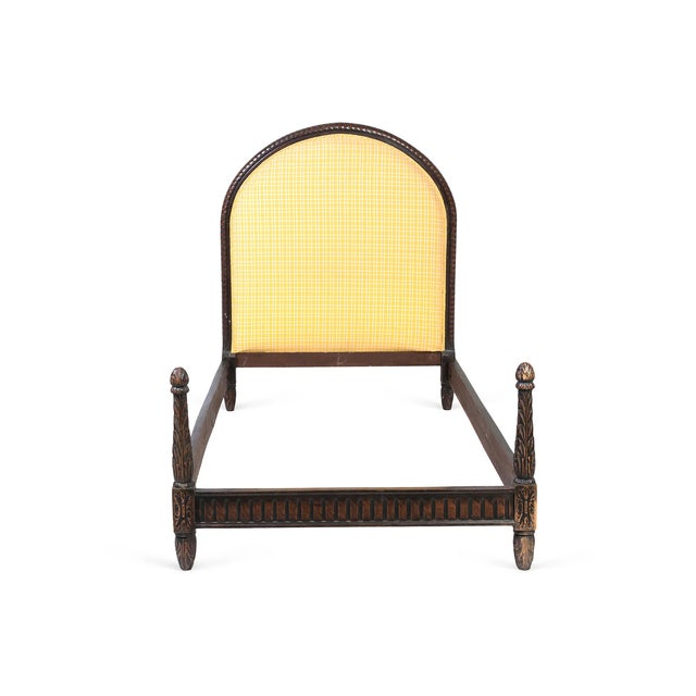 This is a twin size bed frame, made in Belgium. It features a sun flower yellow plaid fabric upholstered headboard. The...