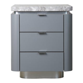 Steve Chase Lacquered Grey and Chrome Side Table, Nightstand or End Table With Marble Top For Sale