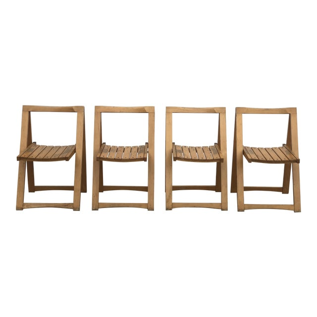 Mid Century Modern Danish Folding Chairs- Set of 4 For Sale
