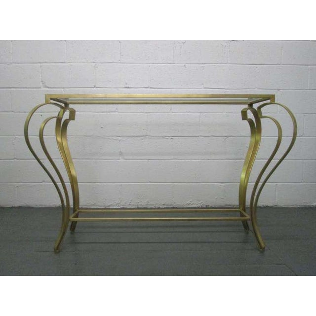 Hollywood Regency Iron Gold Gild Console Table - Image 2 of 6