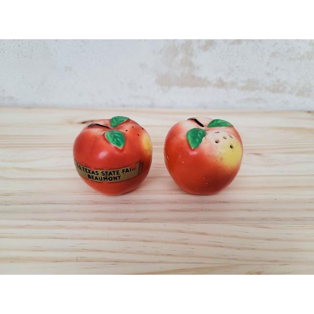 Mid-Century Peach Salt & Pepper Set- a Pair For Sale - Image 4 of 5