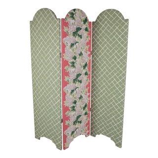 Custom Floral Upholstered Screen For Sale