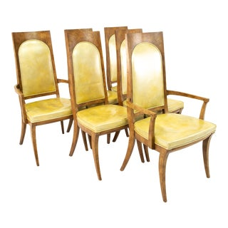 Mastercraft Mid Century Burlwood Dining Chairs- Set of 6 For Sale