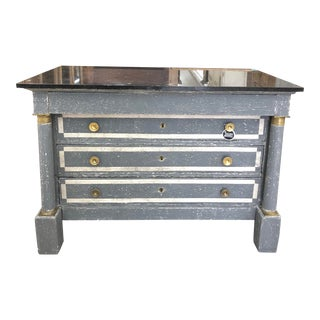 1870s Painted French Empire Marble Top Commode For Sale