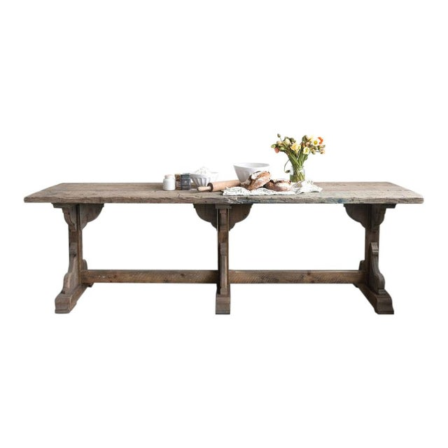 Wood French Rectory Wooden Table For Sale - Image 7 of 8