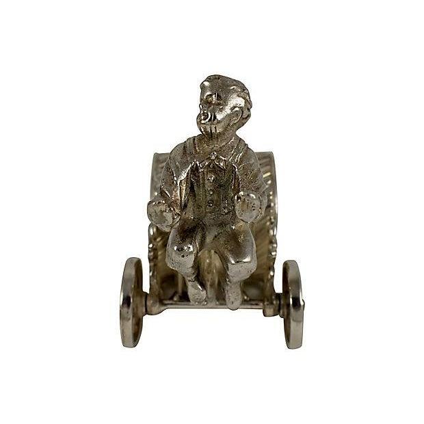 Victorian Boy & Cart Silver Figural Napkin Ring/Holder For Sale - Image 5 of 11