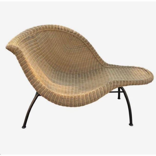 Taupe Vintage Modern Wicker Chaise Lounge For Sale - Image 8 of 8