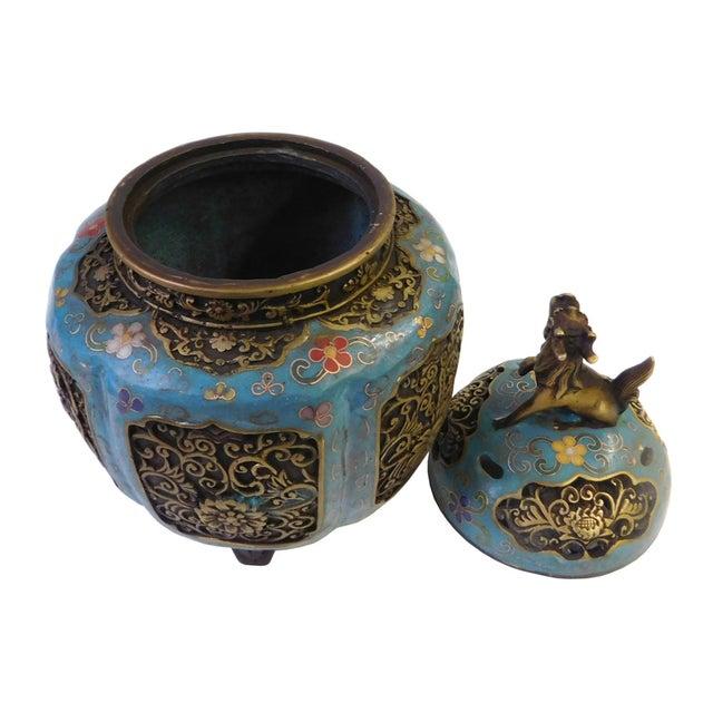 Metal Blue Enamel Cloisonne Incense Burner For Sale - Image 4 of 7
