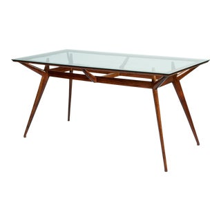 1950s Mid-Century Modern Silvio Cavatorta Mahogany and Glass Dining Table For Sale