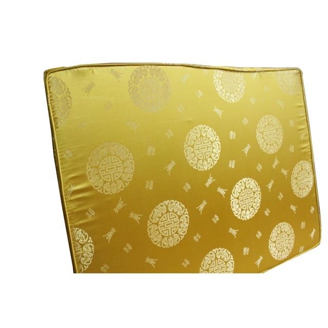 This is a seat cushion pad in rectangular shape for oriental Asian style armchair. It has golden yellowish silk-like...