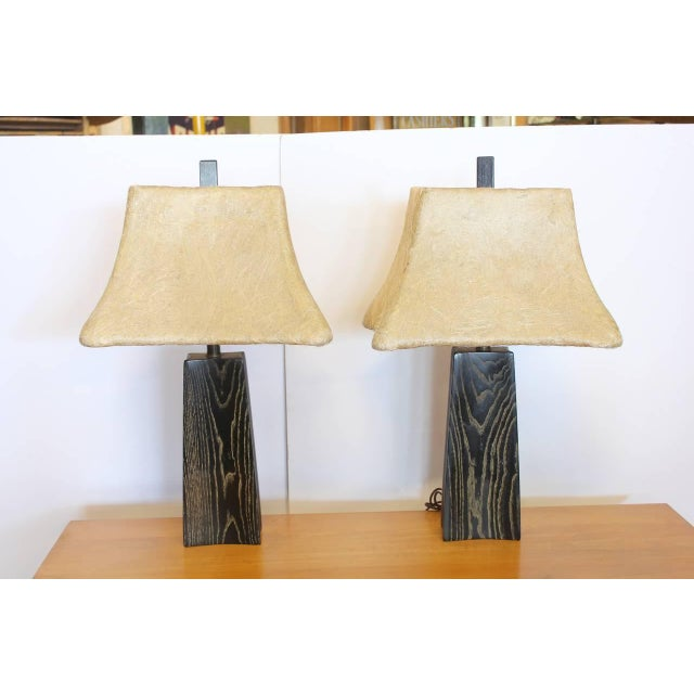 Cerused Oak Table Lamps by James Mont - Image 2 of 2