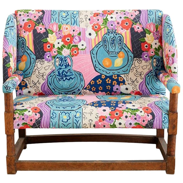 Antique English Winged Settee With Floral Upholstery For Sale