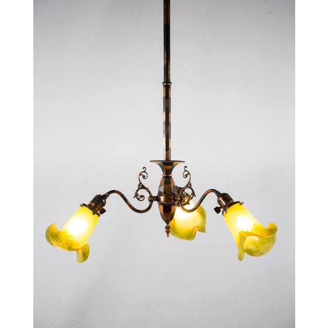 Traditional 1930s Victorian Copper and Green Frosted 3 Light Chandelier For Sale - Image 3 of 13