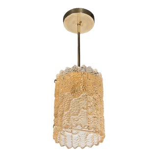 Mid-Century Textured Amber Glass Pendant by Carl Fagerlund for Orrefors