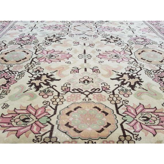 1970s 1970s Vintage Turkish Oushak Rug - 5′9″ × 5′10″ For Sale - Image 5 of 6
