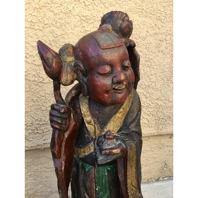 HeHe Erxian Twins Chinese Carved Wood Statues - A Pair For Sale - Image 5 of 11