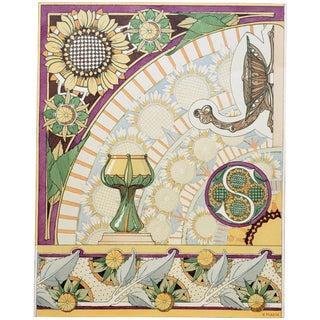 1880s Art Nouveau French Decorative Floral Design Chromolithograph -Rare For Sale