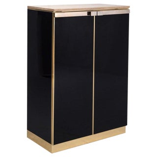 Belgo Chrom Brass and Lacquer High-Board With Travertine Top For Sale