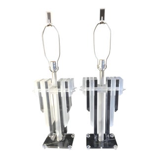 Lucite Table Lamps in the Style of Karl Springer - A Pair