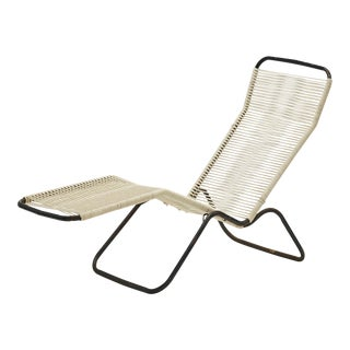 Vintage Midcentury Modern Folding Patio Chair With Woven Rope Seat For Sale
