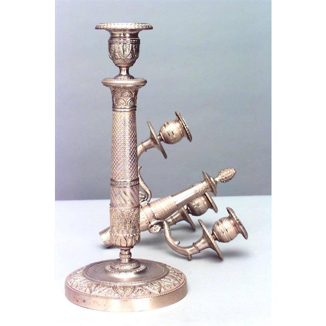 Empire Pair of French Empire Style '19th Century' Bronze Doré Three-Arm Candelabra For Sale - Image 3 of 6