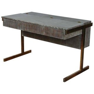 Customizable Paul Marra Writing File Desk in Ceruse Walnut Finish