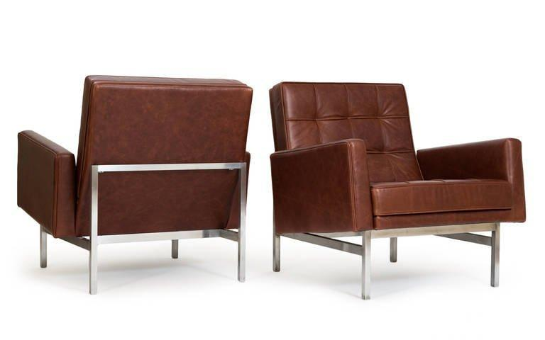 Florence Knoll Lounge Chairs In Leather, 1955   Image 8 Of 8