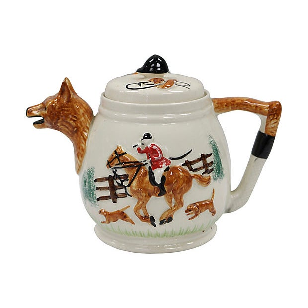 Vintage English Fox Hunting Scene Tea Pot For Sale In Los Angeles - Image 6 of 6