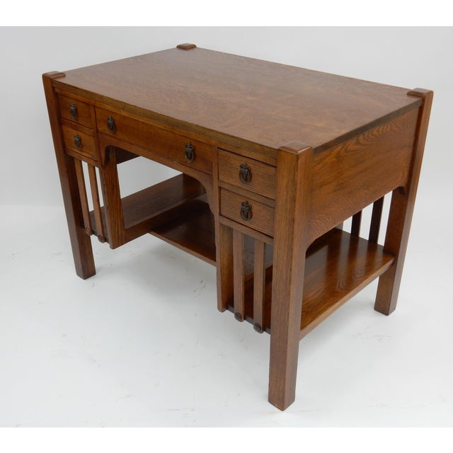 Antique Mission Arts & Crafts Oak Library Desk 38