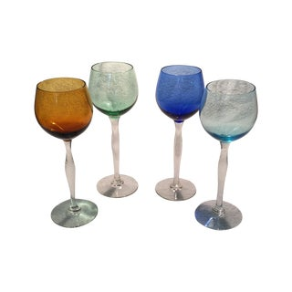 Tall Italian Hand Blown Glass Champagnes - 4 For Sale