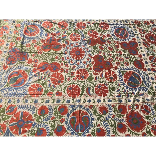 Suzani Table Cover with Floral Patterns Beautiful Pastel Color Combination for your Wall Decor Suitable for Wall Hanging...