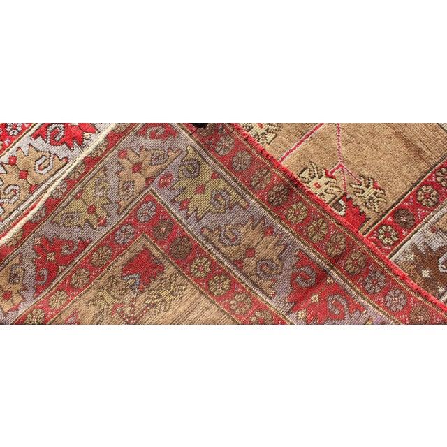 Textile 1920s Vintage Tribal Design Turkish Oushak Runner Rug - 3′10″ × 8′6″ For Sale - Image 7 of 8