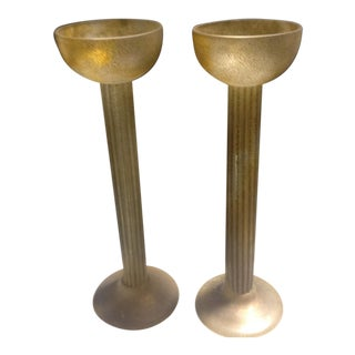 1980s Cenedese Large Tall Scavo Amber Gold Candle Holders - a Pair For Sale